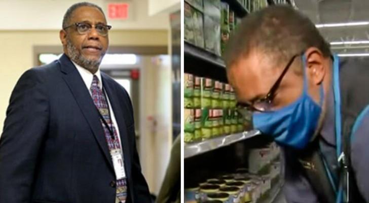 En rektor jobbar nattskift på en mataffär för att sedan donera sin lön till de elever som har det tufft ekonomiskt