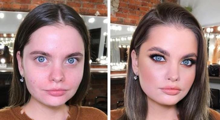 15 foto's van het werk van een visagiste laten zien hoe je een gezicht kunt accentueren, zonder te overdrijven