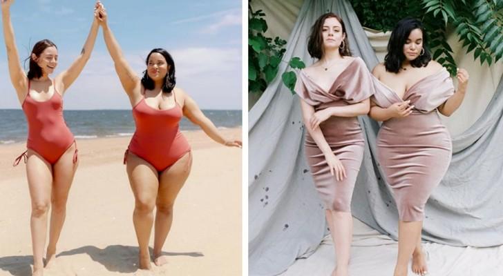Deux mannequins au physique différent portent les mêmes vêtements et prouvent que la mode n'est pas une question de tailles