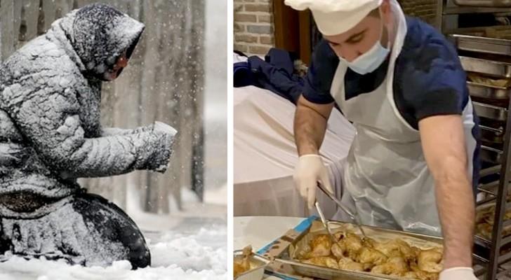 Un restaurante cerrado por Covid abre el local a los indigentes para darles una cama caliente sobre la cual poder dormir