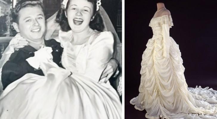 Hon skapar sin brudklänning med tyget från den fallskärm som mannen använt i kriget för att rädda sig