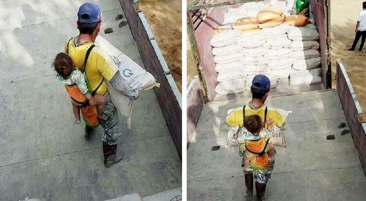 A widowed dad carries his son on his shoulders every day: he takes him to work so as to never leave him alone