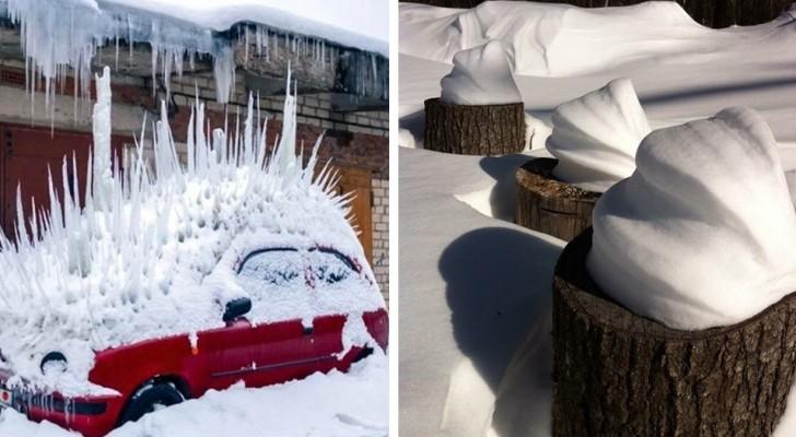 16 Beispiele wo Eis und Schnee faszinierende und befriedigende Kunstwerke geschaffen haben