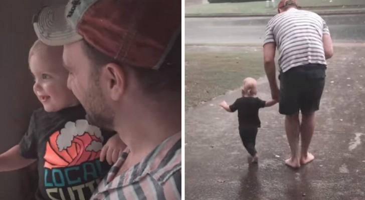 """Een meisje ziet de regen voor het eerst vallen en haar vader neemt haar mee voor een onvergetelijke """"wandeling"""""""