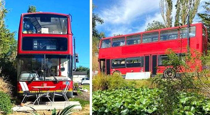 Una coppia trasforma un vecchio bus londinese in una casa lussuosa e super-accogliente