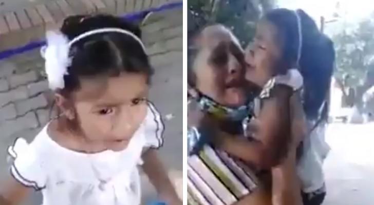 Elle pleure pour ne pas être séparée de sa mère adoptive : la vidéo est déchirante
