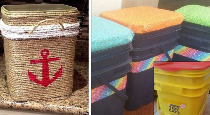 10 progetti super-ingegnosi per riciclare con creatività secchi e contenitori di plastica