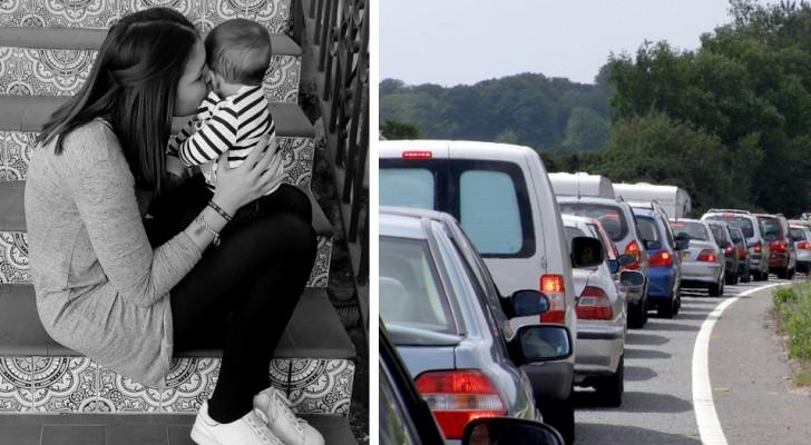 Ze moet snel naar het ziekenhuis om haar zoon te redden, maar komt vast te zitten in het verkeer: een onbekende biedt haar hulp aan