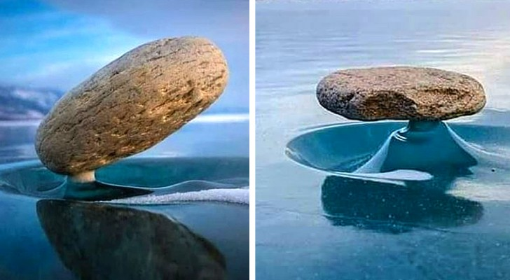 Il fenomeno Baikal Zen: queste pietre si tengono magicamente in equilibrio sul lago ghiacciato