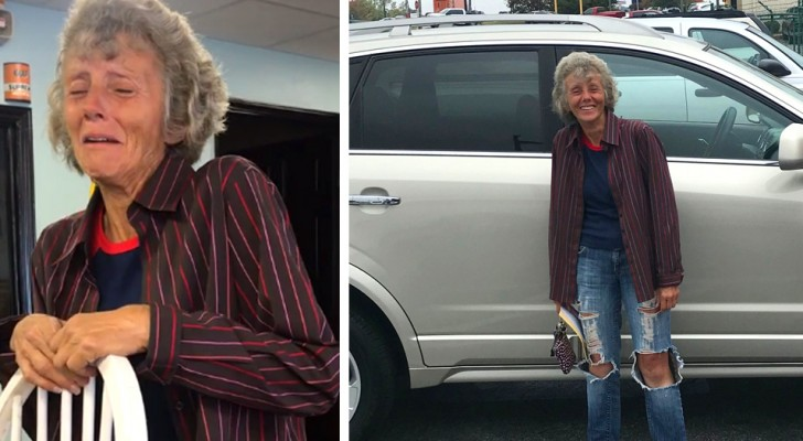 At the age of 60 she walks almost 25 miles a day to go to work: her colleagues give her a new car as a gift