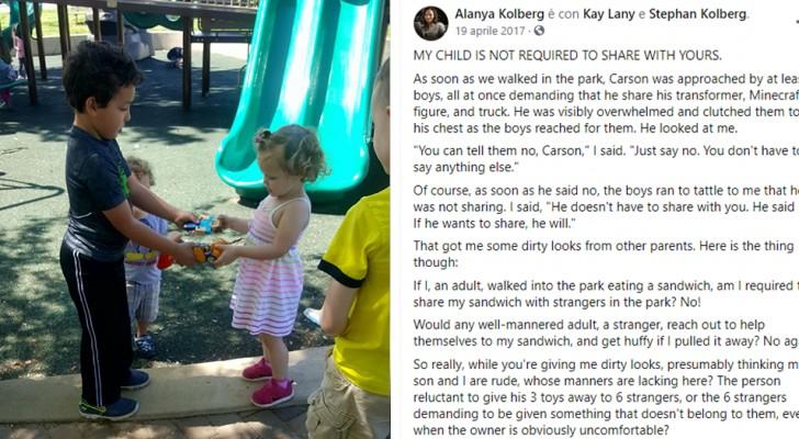 I figli non devono sempre condividere i giochi con altri bambini: una mamma spiega il perché