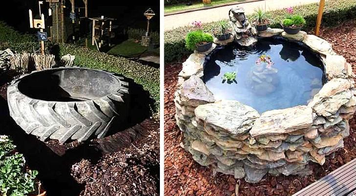 Er baut einen Teich im Garten mit einem Traktorreifen: die billige, aber geniale Idee