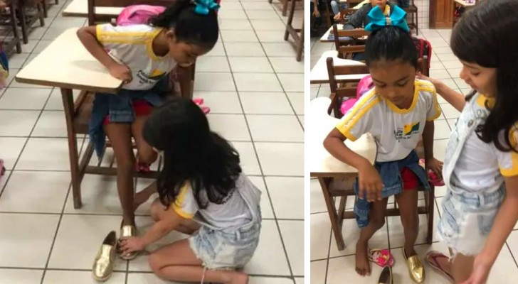 A 10-year-old girl goes to school and gives her shoes to those in need: the teacher is moved