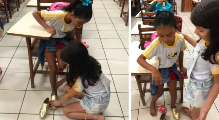 En 10-årig flicka donerar skor till en av sina klasskamrater som behövde dem och hennes fröken blir rörd till tårar