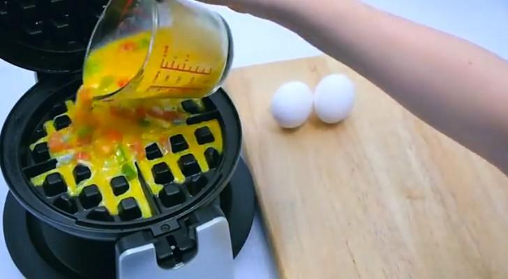 Sie gibt Eier in ein Waffeleisen: Das Ergebnis wird euch das Wasser im Mund zusammenlaufen lassen!