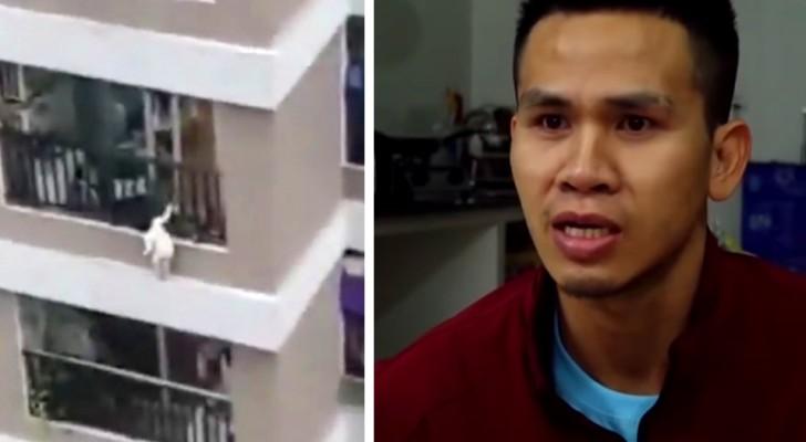 En ung kurir räddar en 2-årig flicka som av misstag faller från 12:e våningen - han fångade henne i farten