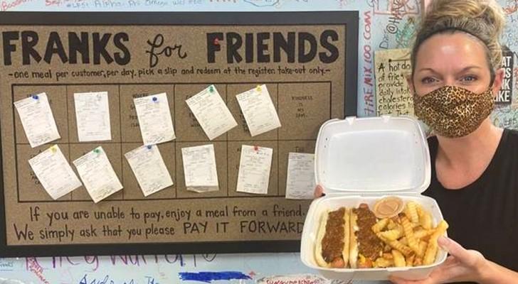 La proprietaria di un locale offre un pasto gratuito a tutti coloro che non possono pagare, senza fare domande