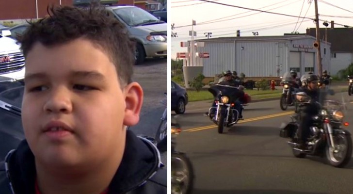 A bullied child is supported by a motorcycle gang: school must be a safe place