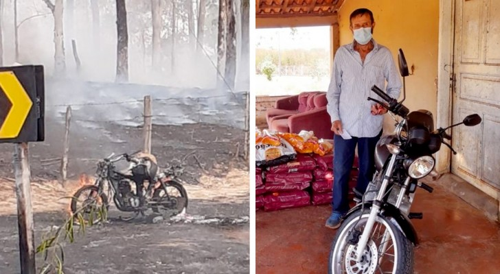 He loses his motorbike in a fire, rescuing his animals: the neighbors make a collection and buy another one