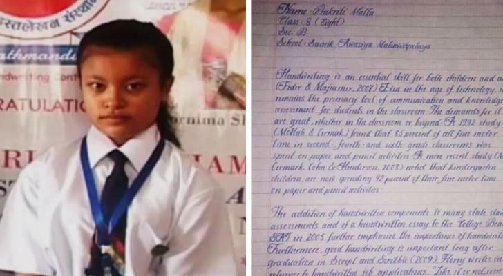 De nette en elegante kalligrafie van dit meisje werd erkend als het beste ter wereld