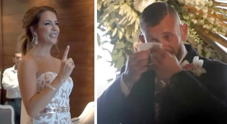 """Die Braut bleibt auf halbem Weg zum Altar stehen und """"singt"""" ihrem tauben Mann in Gebärdensprache ein Lied"""