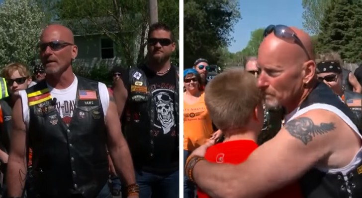 En grupp motorcyklister hjälper en kille som blir mobbad i skolan