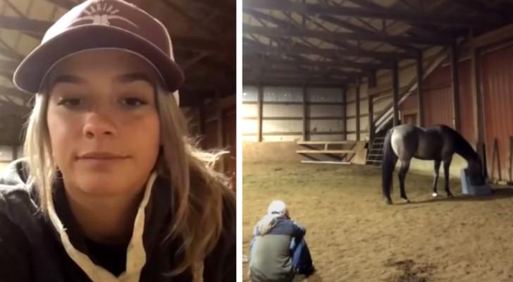 Das Pferd geht zu seiner Besitzerin und tröstet sie, sobald es sie weinen hört: eine ergreifende Szene