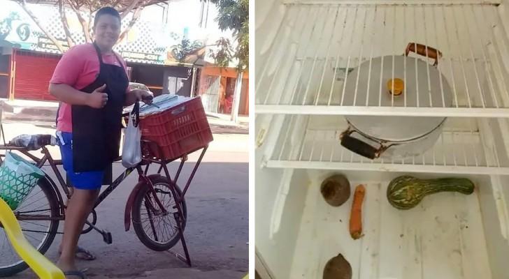 14 år gammal säljer han smörgåsar hela dagen för att hjälpa sina fattiga morföräldrar: