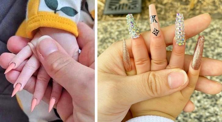 Een moeder kreeg harde kritiek omdat ze haar dochtertje van een paar maanden oud een manicure had gegeven