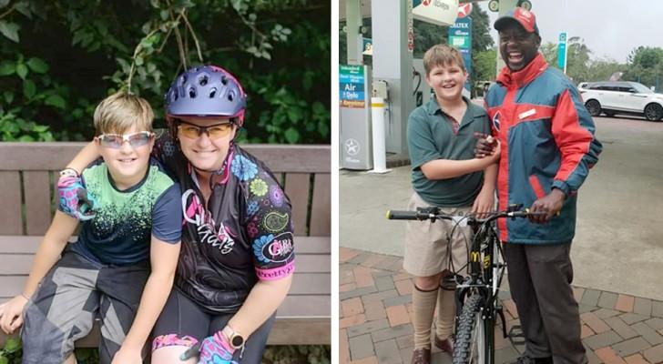 En pojke spenderar alla sina besparingar för att donera en cykel till en anställd på bensinstationen som räddat honom