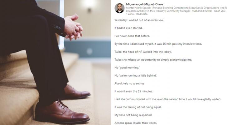 Hij besluit te vertrekken na 35 minuten te hebben gewacht voor een sollicitatiegesprek: hij moet even spuien