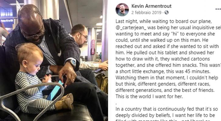 Ein Vater dankt dem Mann, der seine Tochter im Flughafen unterhalten hat: die bewegende Botschaft