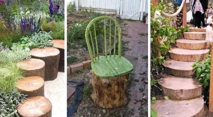 Avec les troncs en bois vous pouvez créer des espaces verts au charme unique et spécial pour votre jardin