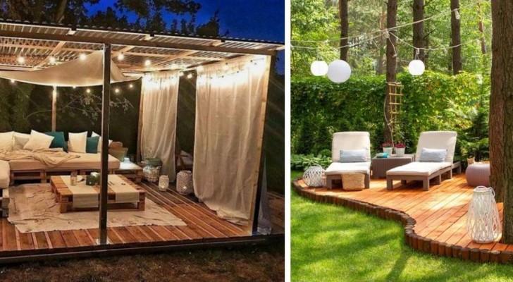 Salottini e zone relax nel giardino: tante idee per creare splendide aree pavimentate in legno