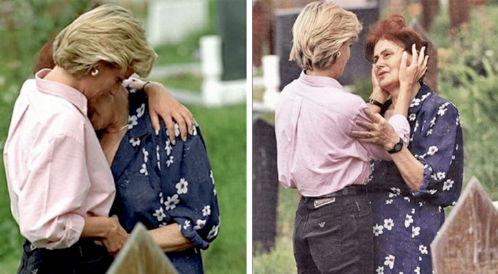 That time Princess Diana hugged a grieving mother at her son's grave