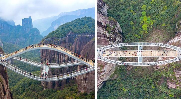 Den här glasbron är 140 meter över en ravin: man blir yr av att se fotona