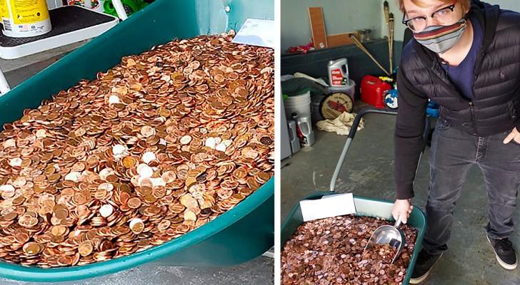 Er kündigt seinen Job und sein Chef revanchiert sich, indem er ihm eine Abfindung in Ein-Cent-Münzen zahlt