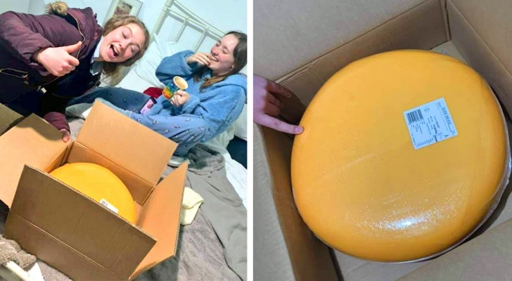 She goes out with a young farmer and he gives her a 12 kg (25 lb) wheel of cheese on the first date