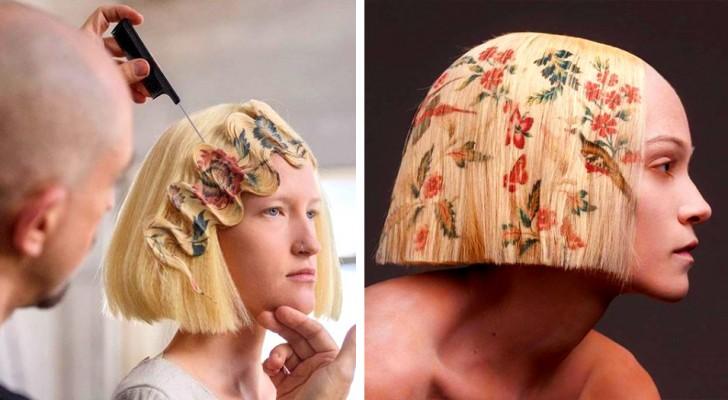 Un parrucchiere sviluppa una tecnica di stampa sui capelli: unisce arte e tecnologia in eleganti acconciature