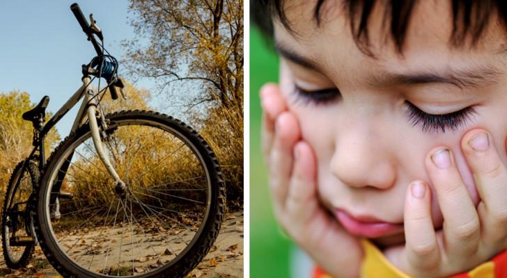 Papá castiga al hijo haciéndole creer que habían robado su bicicleta preferida: la mujer lo llama