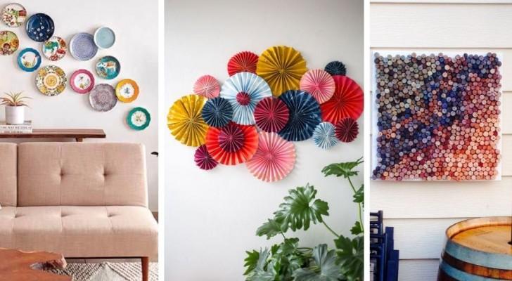 Decora le pareti con creatività con tanti materiali e oggetti diversi grazie a queste idee fantastiche