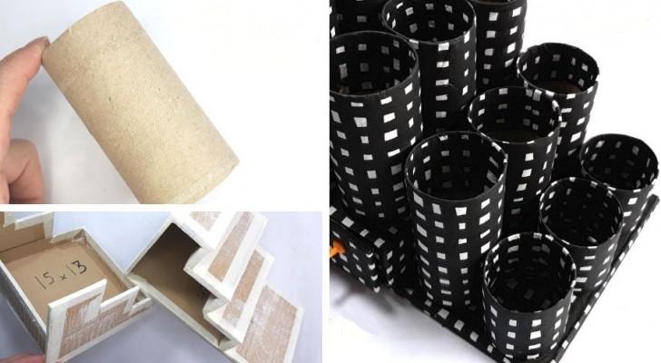 Ti serve un portaoggetti da scrivania? Realizzalo riciclando tubi e scatole di cartone