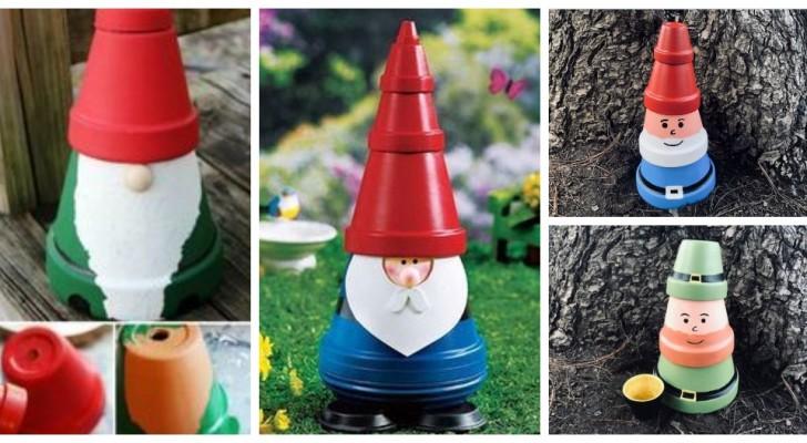 Gnomi colorati in giardino? Scopri come crearli usando dei semplici vasi in terracotta