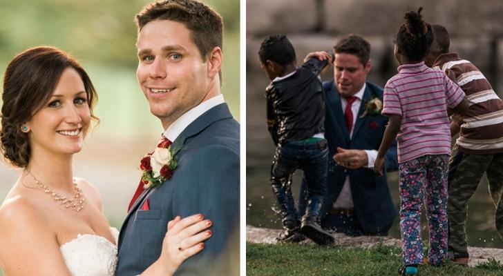Under en fotografering kastar sig brudgummen i vattnet för att rädda en pojke som höll på att drunkna