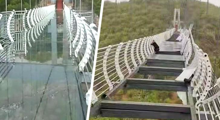 Turista rimane sospeso a 100 metri di altezza mentre il ponte di vetro viene distrutto da raffiche di vento