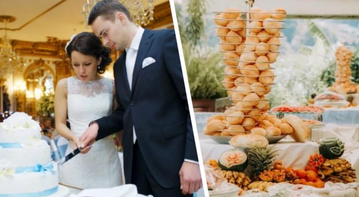 Sposini offrono agli invitati un buffet diverso in base al regalo ricevuto: