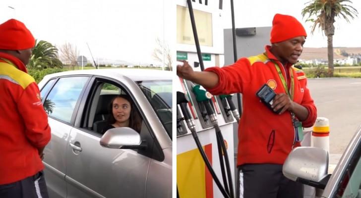 Um frentista paga o combustível a uma mulher em apuros e recebe uma recompensa igual a 8 anos de salário