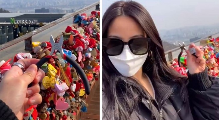 She travels 10,000km to remove a love lock she had hung with her ex