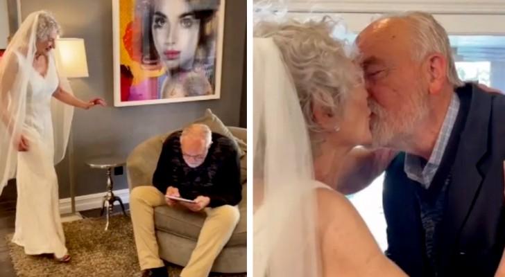 Indossa l'abito da sposa dopo 50 anni all'insaputa del marito: una sorpresa emozionante