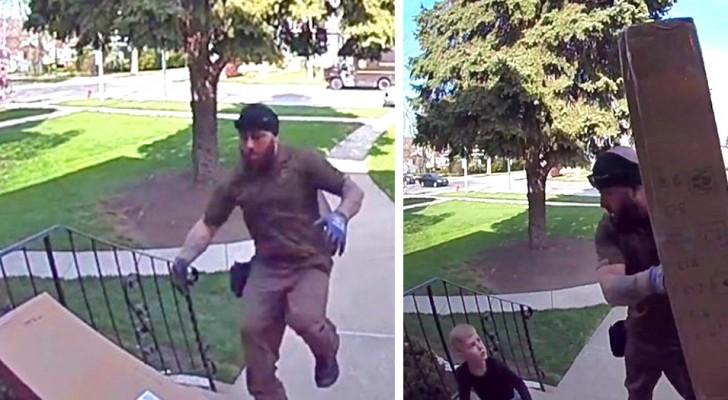 Un mensajero se apresura a ayudar a un niño de 4 años que había quedado aplastado por el paquete recién entregado